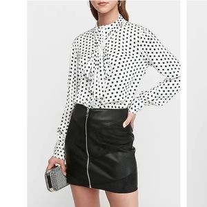 Express Satin Neck Tie Top Polka dot